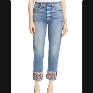 ALICE + OLIVIA Embroidered Crop Girlfriend Jeans